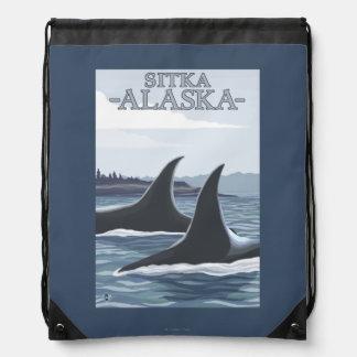 シャチのクジラ#1 - Sitka、アラスカ ナップサック