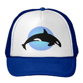 シャチのシャチのシルエットの青の円 トラッカー帽子