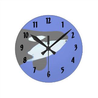 シャチのシャチの水中グラフィック ラウンド壁時計