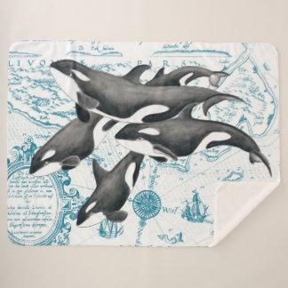 シャチのポッドの水彩画のヴィンテージの地図 シェルパブランケット