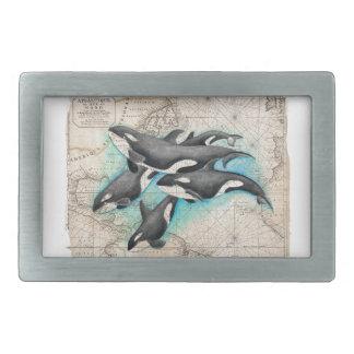 シャチの地図の地図書 長方形ベルトバックル