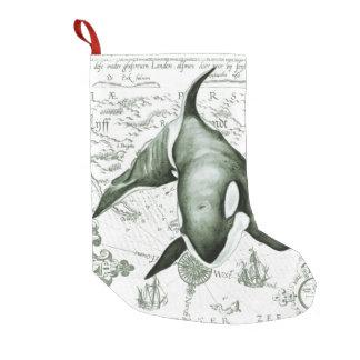 シャチの地図の緑 スモールクリスマスストッキング