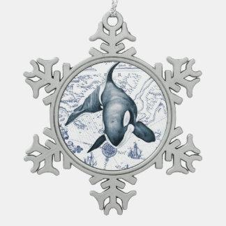 シャチの地図の青 スノーフレークピューターオーナメント