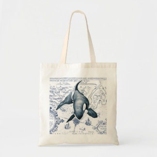 シャチの地図の青 トートバッグ