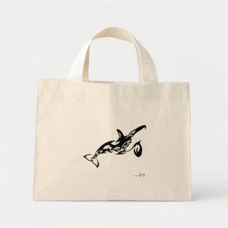 シャチの小型戦闘状況表示板 ミニトートバッグ
