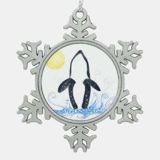 シャチの月 スノーフレークピューターオーナメント