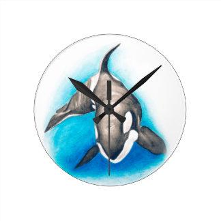 シャチの深い飛び込み ラウンド壁時計