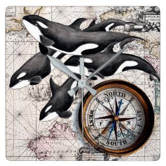 シャチの航海のなコンパス スクエア壁時計