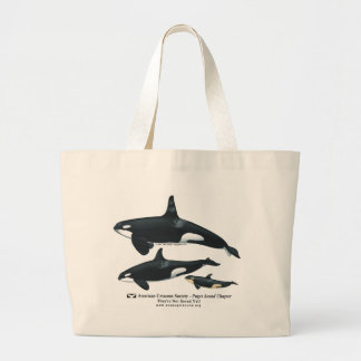 シャチ家族のビーチのバッグ ラージトートバッグ