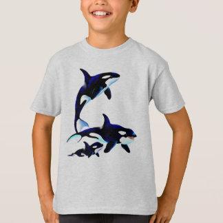 シャチ家族のワイシャツ Tシャツ