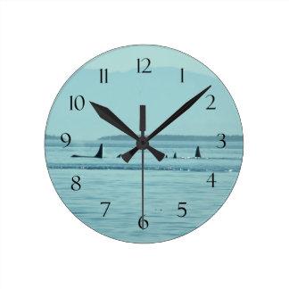 シャチ ラウンド壁時計