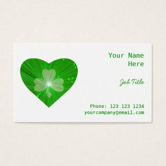 シャムロックのハートの白い名刺の側面の緑 名刺