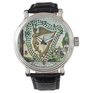 シャムロックの女性のハープのヴィンテージのイラストレーション 腕時計