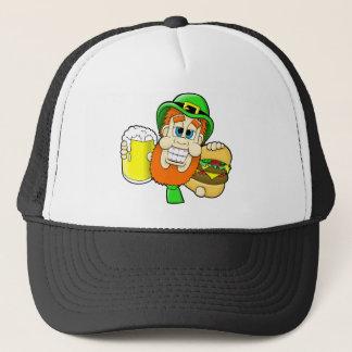 シャムロックの形のハンバーガー及びビールを握っている小妖精 キャップ
