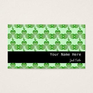 シャムロックの緑のストライブ柄の黒 名刺