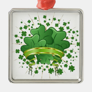 シャムロックの花束、緑のクローバー、アイルランドのおもしろい メタルオーナメント