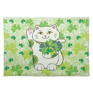 シャムロックの花束Maneki Neko (幸運な猫) ランチョンマット