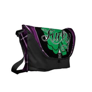 シャムロックの(紫色の)メッセンジャーバッグ クーリエバッグ