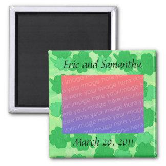 シャムロックは、日付の結婚式の写真の磁石を救います マグネット