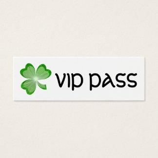 シャムロック細い白い「VIPのパス」の名刺 スキニー名刺