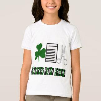 シャムロック、紙、はさみ十代の衣服のTシャツ Tシャツ