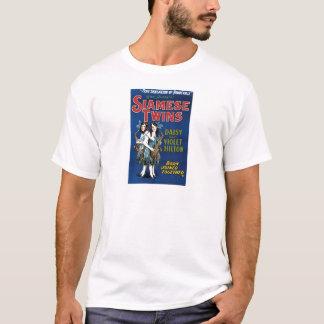 シャム双生児-デイジーおよびすみれ色のHilton Tシャツ
