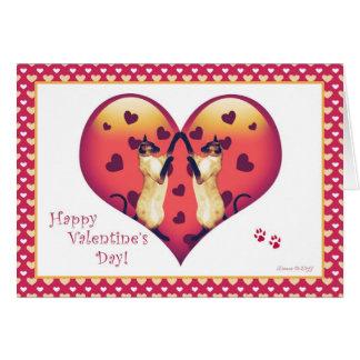シャム猫のかわいいバレンタインデーカード カード