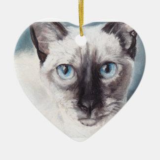 シャム猫のクローズアップの子ネコの芸術のオーナメント セラミックオーナメント