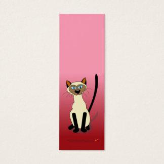 シャム猫の小型しおり(赤い) スキニー名刺