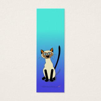 シャム猫の小型しおり(青い) スキニー名刺