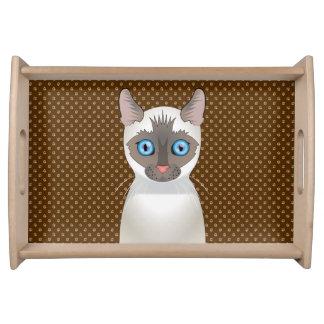 シャム猫の漫画(白い) トレー