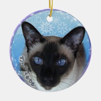 シャムCAT -顕著な青い目のクリスマスのオーナメント セラミックオーナメント