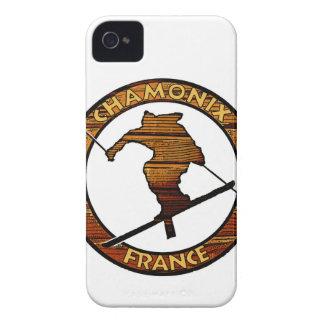 シャモニーフランスの素朴な木製のスキーヤーのデザイン Case-Mate iPhone 4 ケース