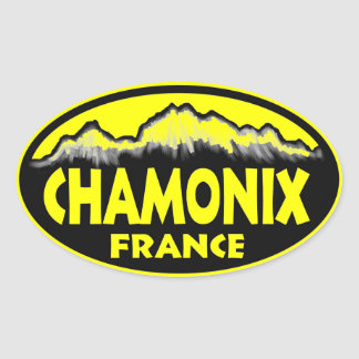 シャモニーフランスの黄色い楕円形のステッカー 楕円形シール