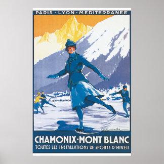 シャモニーモンブランのヴィンテージ旅行ポスター ポスター