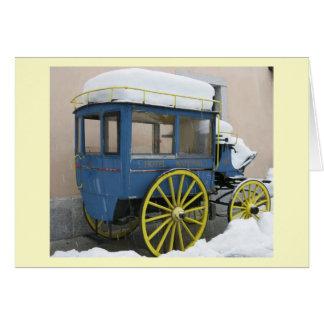 シャモニー、フランスの雪で覆われたヴィンテージ車 カード