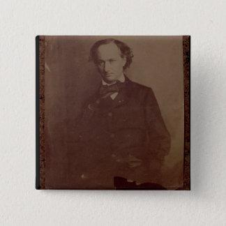 シャルル・ボードレール(1820-1867年)、フランスのな詩人、portr 5.1cm 正方形バッジ
