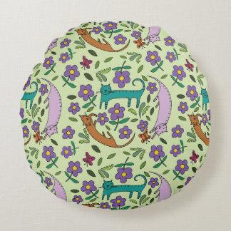 シャロンの開花のデザインによる猫の昼寝の円形の枕 ラウンドクッション