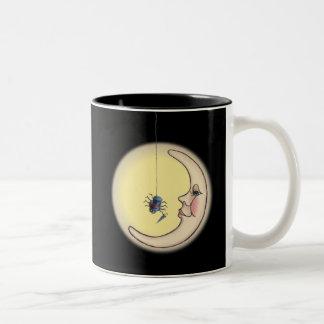 シャロンSHARPE著くも、くもの巣及び月 ツートーンマグカップ