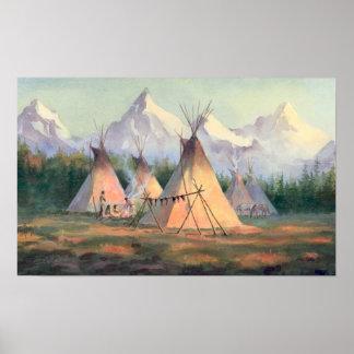 シャロンSHARPE著インドのTIPIのキャンプ ポスター