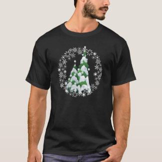 シャロンSHARPE著クリスマスの真珠の木の雪片 Tシャツ