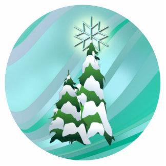 シャロンSHARPE著クリスマスツリー及び星 写真彫刻オーナメント