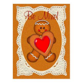 シャロンSHARPE著バレンタインのレースの楕円形の男の子 ポストカード
