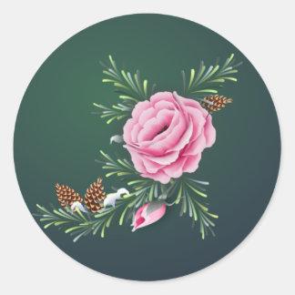 シャロンSHARPE著ピンクのバラ及びマツ ラウンドシール