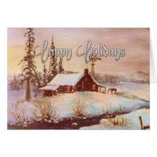 シャロンSHARPE著冬の農場及びライダー カード