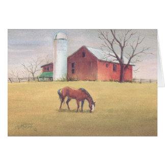 シャロンSHARPE著古い納屋、サイロ及び馬 カード