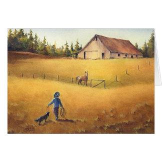 シャロンSHARPE著古い納屋、APPALOOSAの男の子及び犬 カード