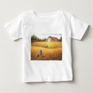 シャロンSHARPE著古い納屋、APPALOOSA、男の子及び犬 ベビーTシャツ