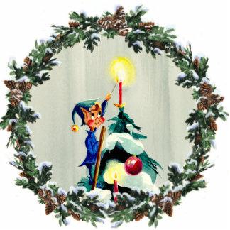 シャロンSHARPE著蝋燭及びリースをつけている小妖精や小人 写真彫刻オーナメント