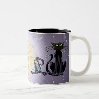 シャロンSHARPE著黒猫及び帽子 ツートーンマグカップ